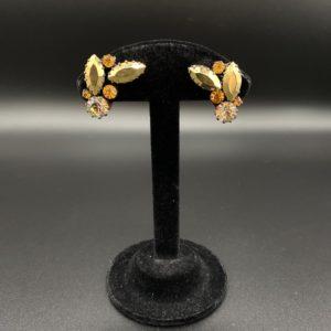 boucles d oreilles clips cristal vintage dorées 50s