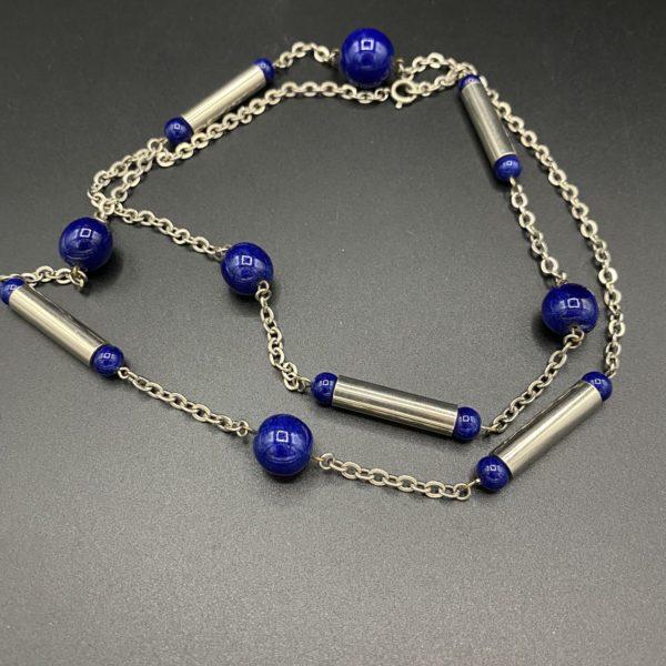 art deco bleu necklace chrome glass beads