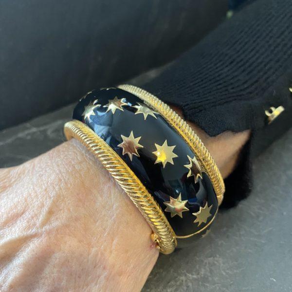 bracelet christian dior email noir et étoiles dorées 80s