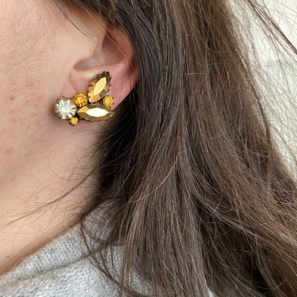 vintage earrings gold cristal clips 50s