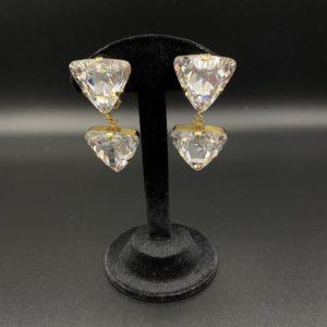 boucles d oreilles clips triangle en cristal vintage poggi