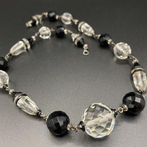collier art deco verre taillé noir blanc argent