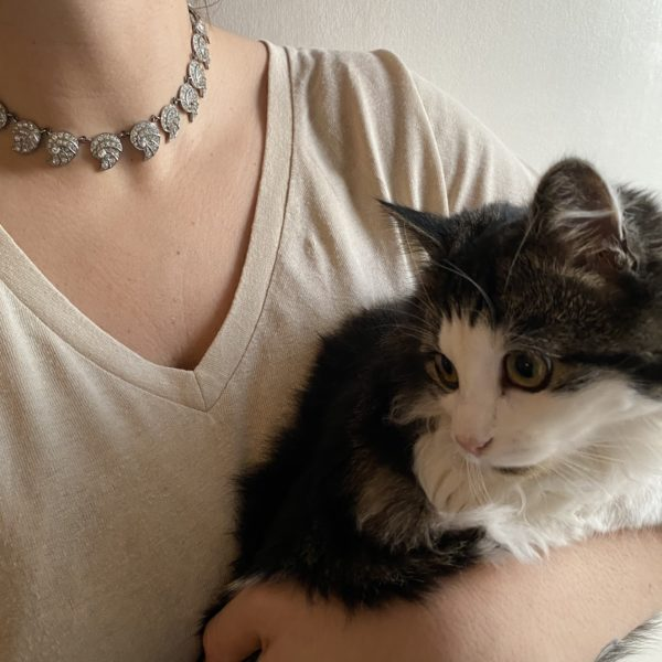 collier art deco coquillage argent cristal chaton