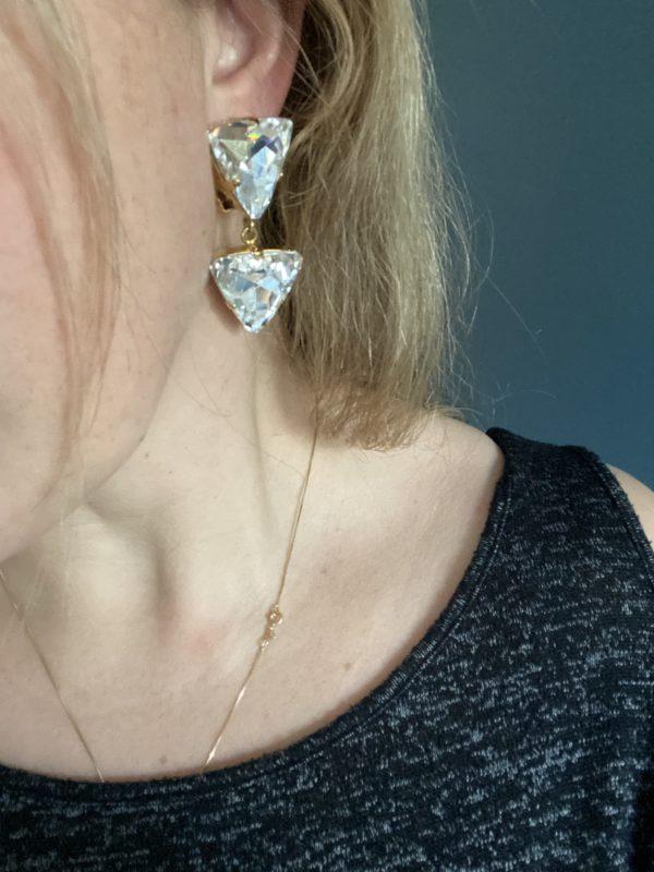 boucles d oreilles vintage cristal poggi triangle élégance