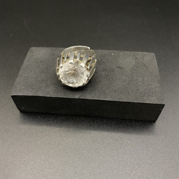 bague scandinave argent cristal de roche étoile 1960
