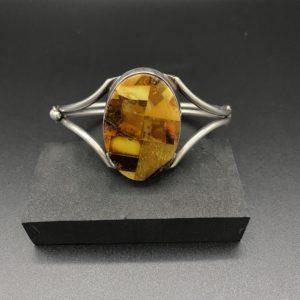 bracelet argent damier ambre 1970