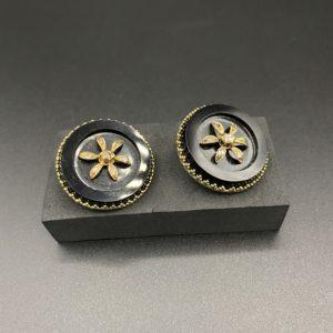 boucles d oreilles clips or 14 carats napoléon 3 diamants taille rose onyx
