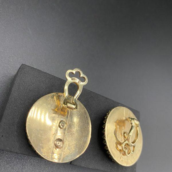 arrière de boucles d oreilles napoléon 3 en or onyxx et diamants