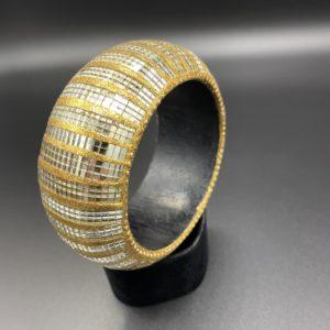 bracelet miroir 80s doré