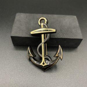 broche ancienne 19 eme ancre de marine écaille or argent