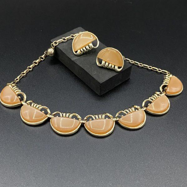 ensemble vintage rétro collier clips 60s lucite